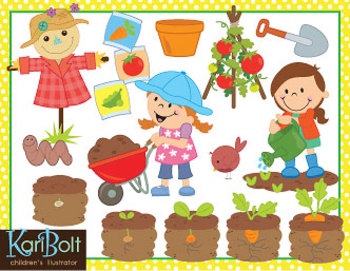 Gardening Vegetables Clip Art by Kari Bolt Clip Art | TpT