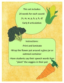 Gardening Veggies: Early 8 sounds in word initial position