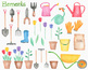 Gardening Watercolor Clipart Pack, Spring Easter Art PNG Transparent
