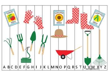 Gardening themed Alphabet Sequence Puzzle Game. Printable Preschool Gam