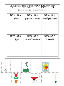 Gardening themed Answer the Question preschool learning game.  Daycare learning.