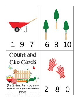 Gardening themed Count and Clip preschool learning game.  Daycare learning.