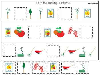 Gardening themed Fill In the Missing Pattern Game. Printable Preschool Game