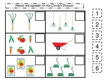 Gardening themed Match the Number  preschool learning game.  Daycare learning.