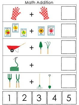 image regarding Printable Addition Games identify Gardening themed Math Addition Match. Printable Preschool Recreation