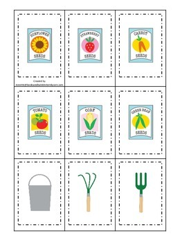 Gardening themed Memory Matching preschool learning game.  Daycare learning..