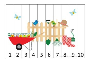 Gardening themed Number Sequence Puzzle 1-10 preschool learning game.  Daycare