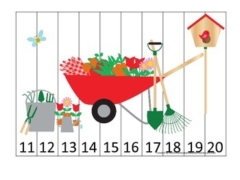 Gardening themed Number Sequence Puzzle 11-20 preschool learning game.  Daycare