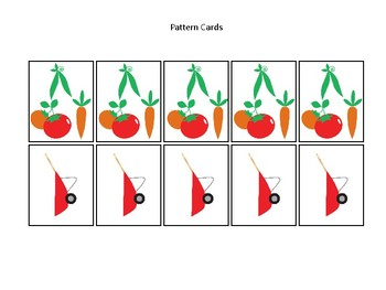 Gardening themed Pattern Cards and Game Board. Printable Preschool Game
