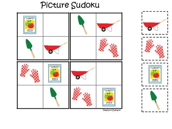 Gardening themed Picture Sudoku Game. Printable Preschool Game