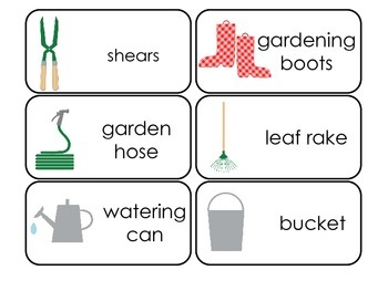 Gardening themed Picture and Word Flash Cards.  Daycare learning.