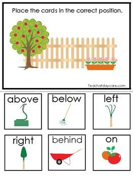 Gardening themed Positional Word Game. Printable Preschool Game