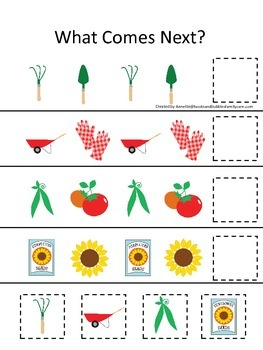 Gardening themed What Comes Next preschool learning game.D