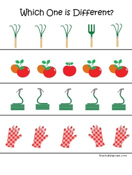 Gardening themed Which One is Different. Printable Preschool Game