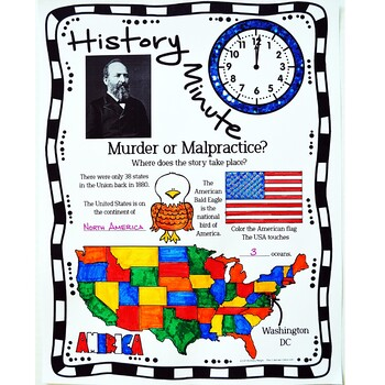 Garfield Assassination History Minute Cross Curricular History and Reading Pack