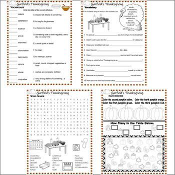 Garfield's Thanksgiving Book or TV Comprehension Activity Packet Lined Paper 16p