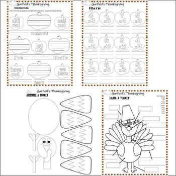 Garfield's Thanksgiving Book Companion or TV Comprehension Activity Pack