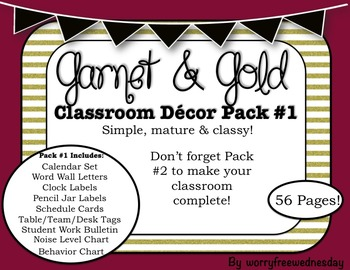 Garnet and Gold Classroom Decor Pack #1