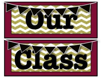 Garnet and Gold Classroom Decor Pack #2