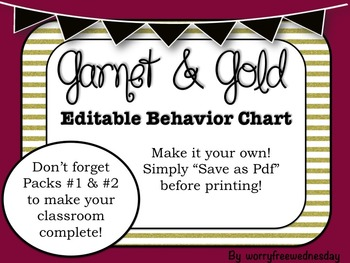 Garnet and Gold Editable Behavior Chart