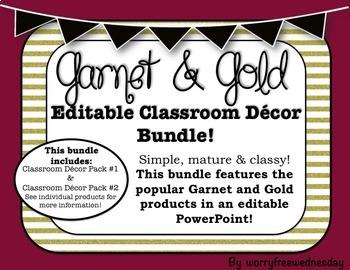 (Editable) Garnet and Gold (Florida State) Classroom Decor Bundle