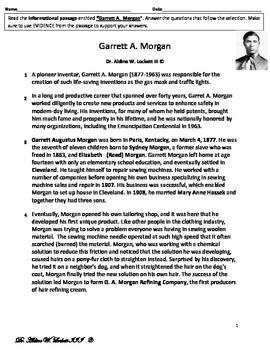 Garrett_Morgan_Black_History_Rigorous_Common_Core Assessment
