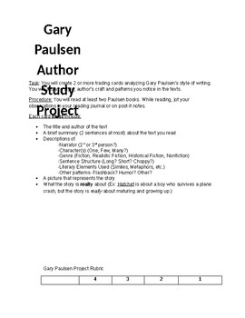 Gary Paulsen Author Study Trading Card Project