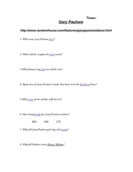 Gary Paulsen Computer Activity