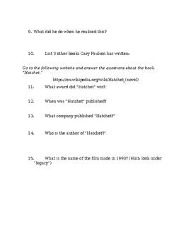 Gary Paulsen Web Research Assignment