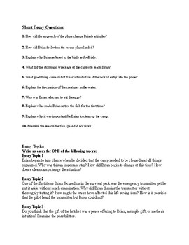 "Gary Paulsen's ""Hatchet"" Final Test (w/ Answer KEY)"