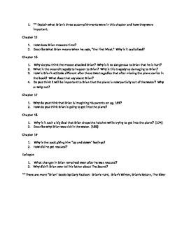 Gary Paulson's Hatchet Student Guide