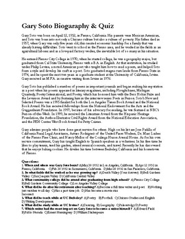 Gary Soto Biography & Quiz (40 Questions w/ Key)