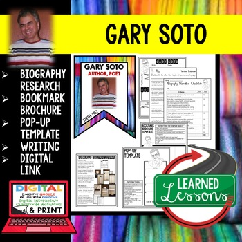 Gary Soto Biography Research, Bookmark Brochure, Pop-Up, Writing