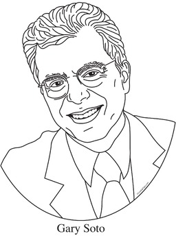 Gary Soto Realistic Clip Art, Coloring Page, and Poster