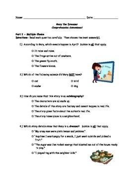 McGraw Hill Wonders - 3rd Grade - Gary the Dreamer Compreh