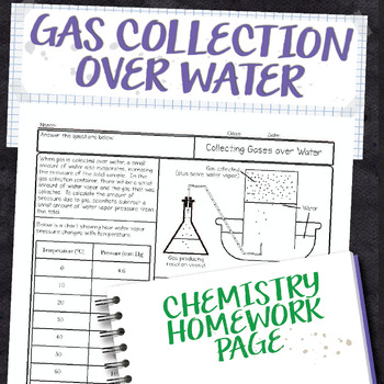 Gas Collection over Water Chemistry Homework Worksheet