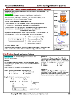 Gas Law Calculations (Combined Gas Laws)  - Guided Study Notes for HS Chem