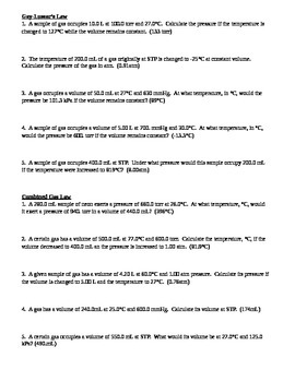 Gas Law Worksheet