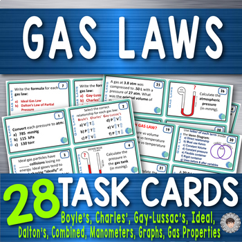 Gas Laws ~ 28 Chemistry Task Cards~ Gas Properties-Manometers-Graphs-Problems