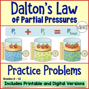 Gas Laws: Dalton's Law of Partial Pressure Homework by Amy Brown Science