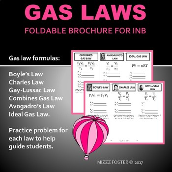 Gas Laws Foldable Graphic Organizer for INB (6 laws)