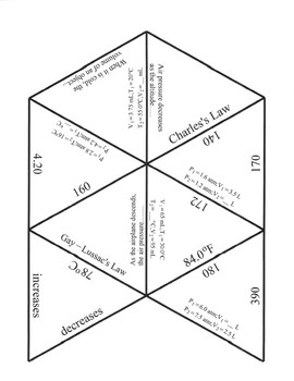 Gas Laws Game Puzzle with Worksheet