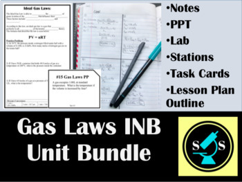 Gas Laws Interactive Notebook (INB) Bundle with Task Cards
