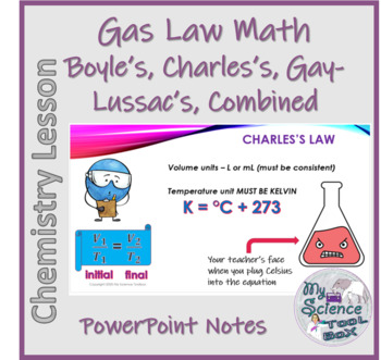 Gas Laws Math Guided Notes - PowerPoint and Student Notes Page