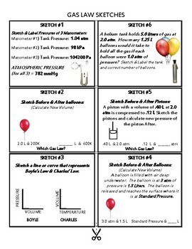 Gas Laws Sketch Activity Kit~CHEMISTRY~ Science Center Cards