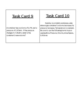 Gas Laws -Task Card - practice problems