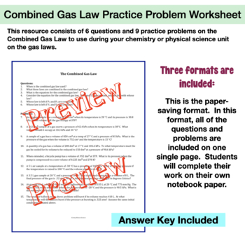 Gas Laws: The Combined Gas Law Practice