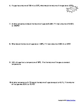 Gas Laws  Worksheets - Set of 6!  Answers include