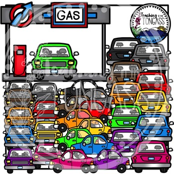 Gas Station and Car Clipart