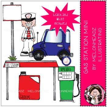 Gas Station clip art - Mini - Melonheadz Illustrating